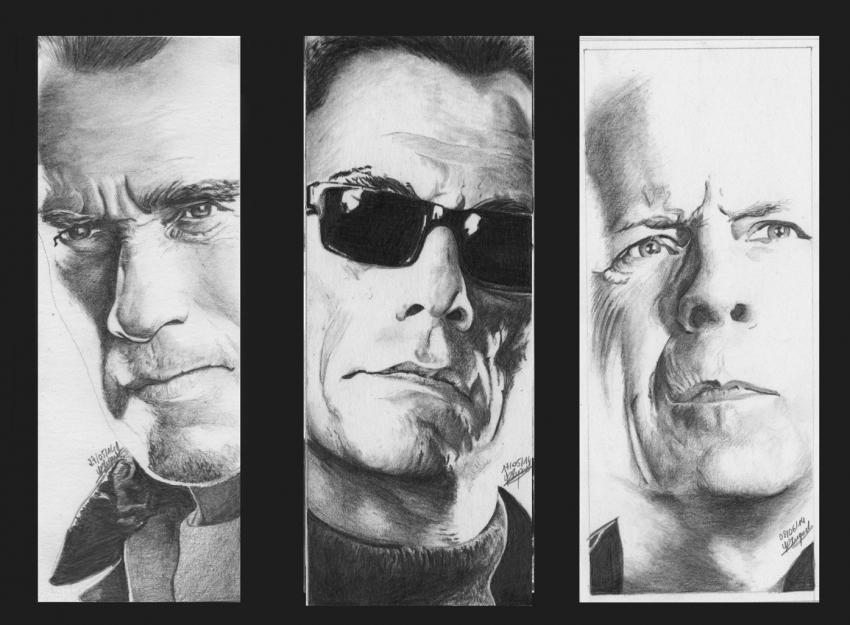 Bruce Willis, Arnold Schwarzenegger, Jean-Claude Van Damme par Yann